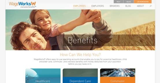 Screenshot of WageWorks benefits page