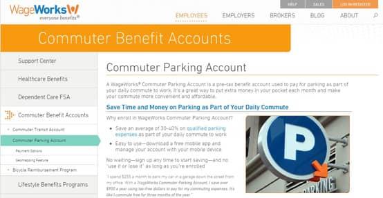 Screenshot of WageWorks commuter benefits page