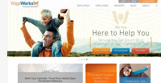 Screenshot of the WageWorks homepage