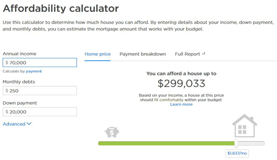 Screenshot of Zillow's Affordability Calculator